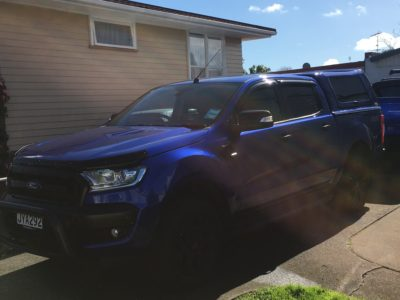 blue Ford Ranger window tinting