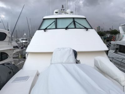 Exterior view of boat window tinting