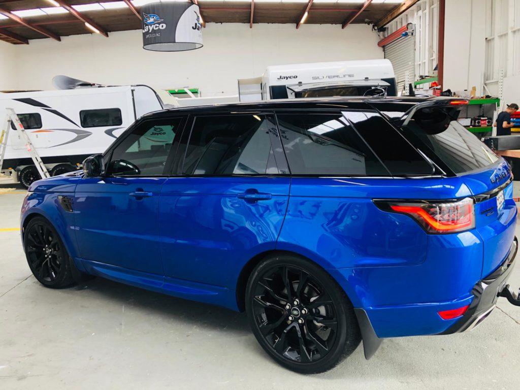 Exterior of window tinting on Range Rover SUV